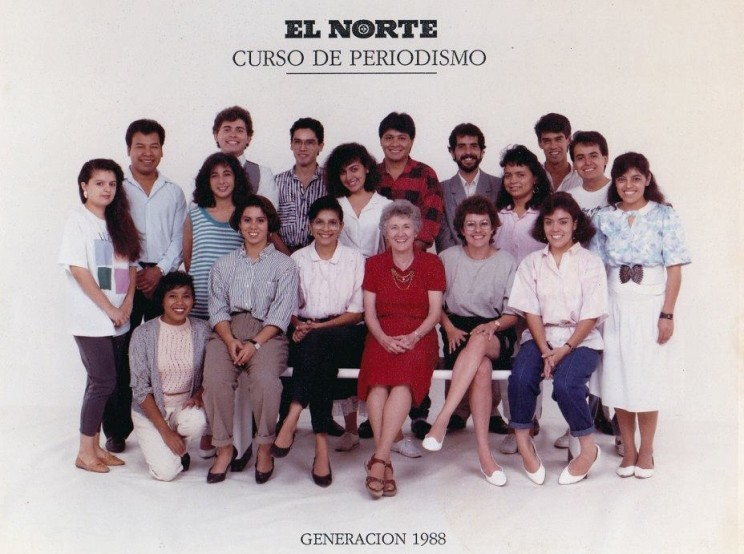 Curso de periodismo en el diario El Norte, Monterrey, 1988.